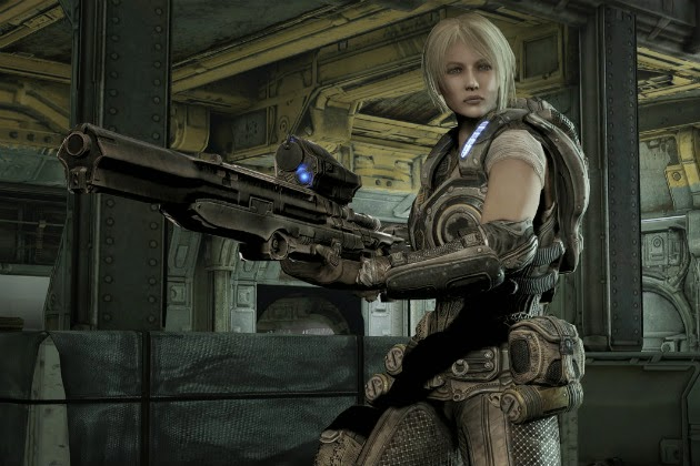 Anya Stroud from Gears of War in bulky armor with a large gun.
