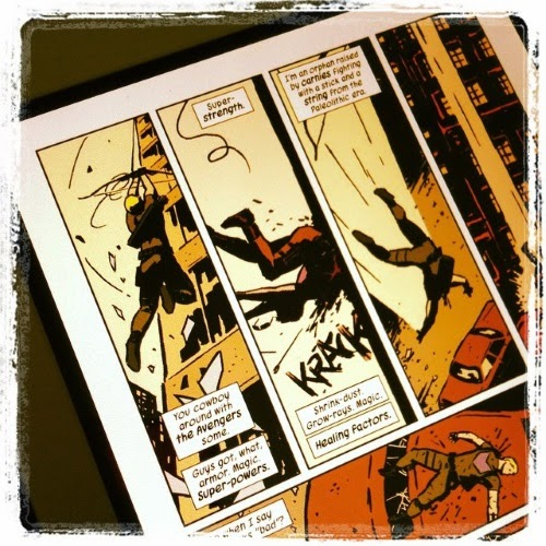 Three panels depicting Clint Barton falling off a roof. The captions read, 'You cowboy around with the Avengers some. Guys got, what, armor, magic, super-powers. Super-strength. Shrink-dust. Grow-rays. Magic. Healing factors. I'm an orphan raised by carnies fighting with a stick and a string from the Paleolithic era.'