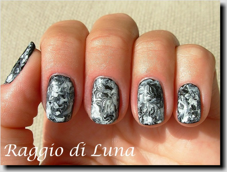 Raggio Di Luna Nails Black White Marble Nail Art Manicure