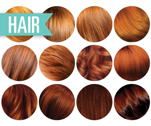 Auburn hair dye color chart