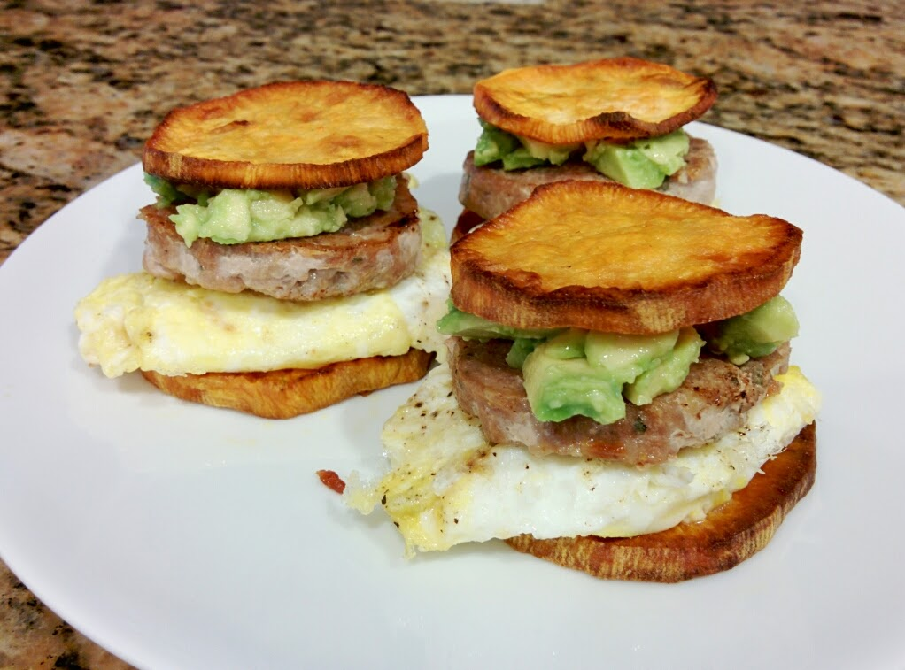 paleo sausage mcmuffin w/ egg and avocado