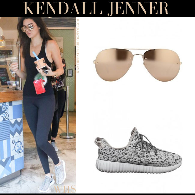 Kendall Jenner with gold mirrored aviator Linda Farrow 307 sunglasses and grey Adidas Yeezy Boost 350 sneakers what she wore june 20