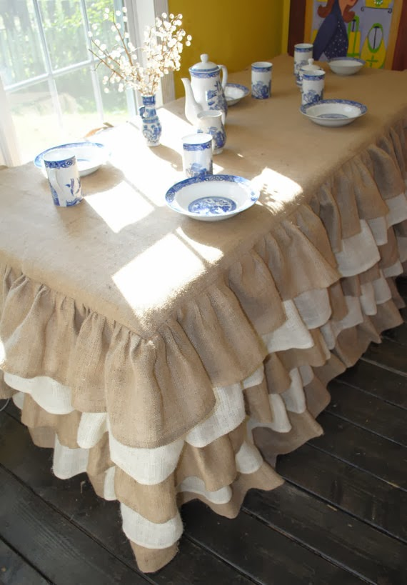 Exceptional Beautiful Etsy Burlap Tablecloth For $320.00. (I Understand The Price  Because Of The Time It Takes!)