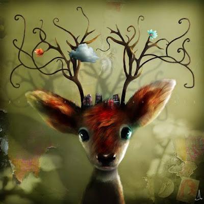 cette oeuvre représente un chevreuil qui nous fixe, la lumière brille dans son œil et son regard a une expression humaine