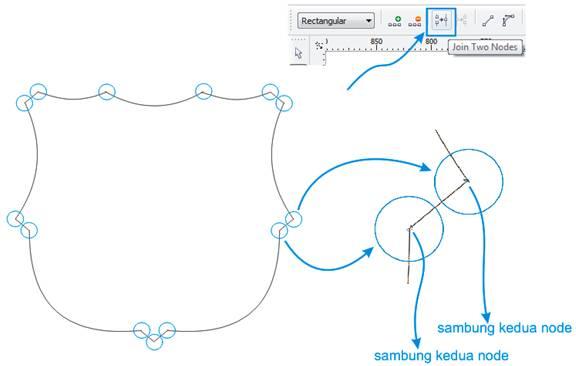 menyambungkan kedua node