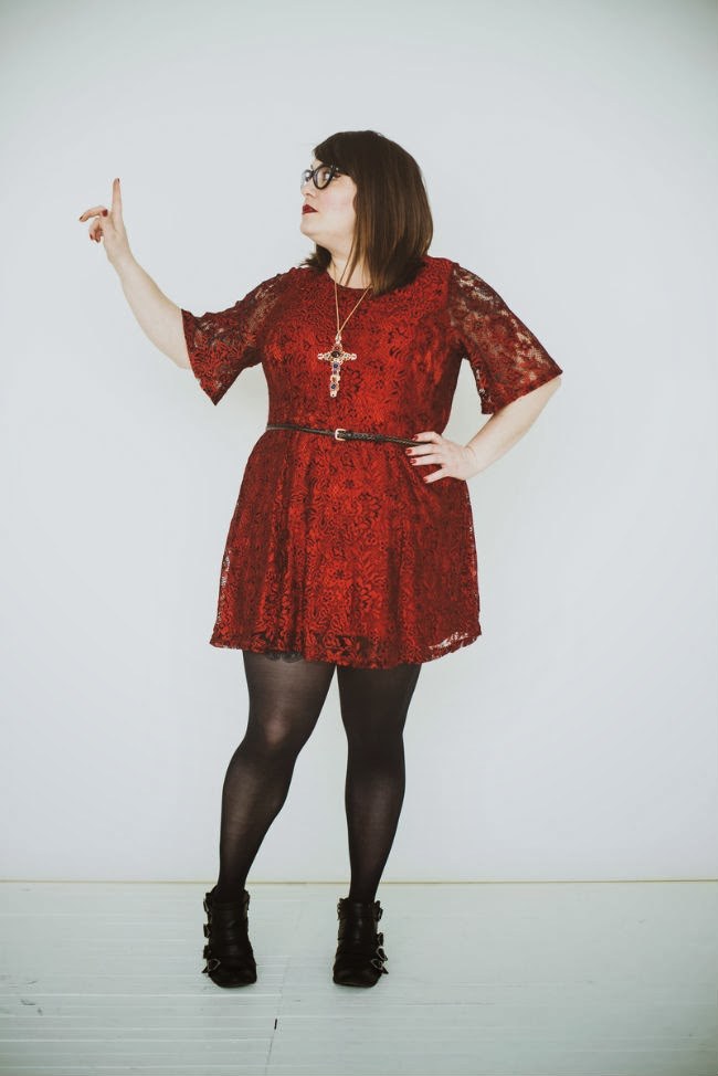 simply be, red lace, dress, plus size, blogger