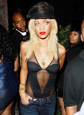 Rihanna mesh body suit