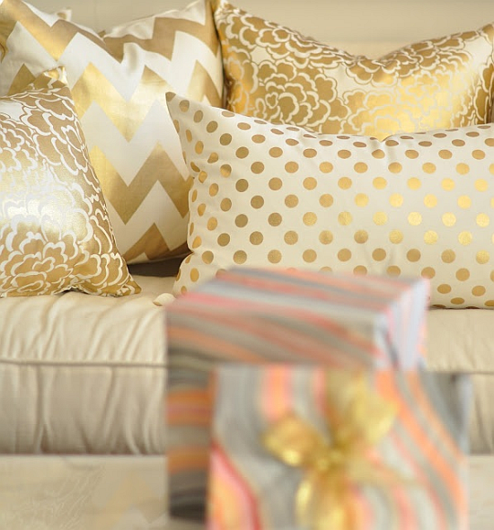 gold mixed patterns cushions