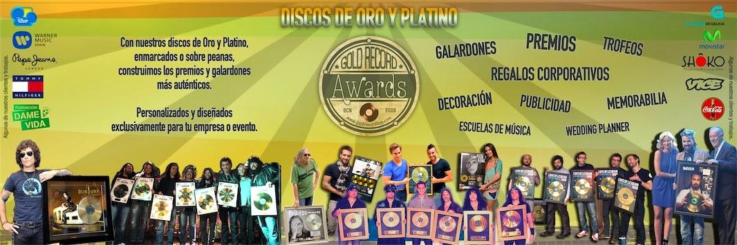 Discos de Oro y platino. Premios, galardones, awards, regalos empresariales.
