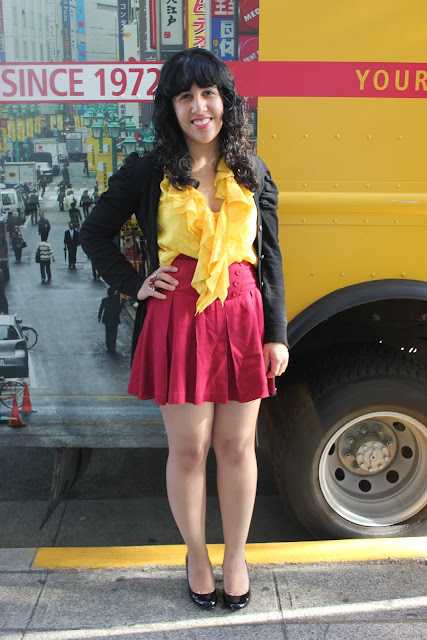 Yellow and Red Color Block Outfit