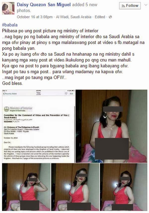 OFW 'Wanted in Saudi' for Posting Sexy Photos on Facebook