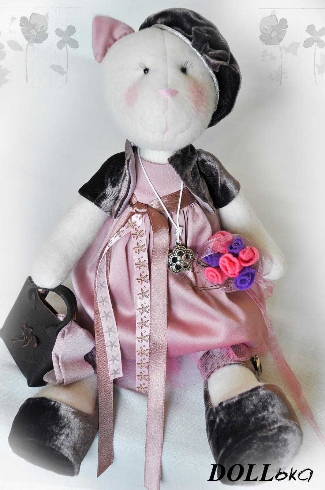 кошечка Жаклин, текстильная игрушка ручной работы