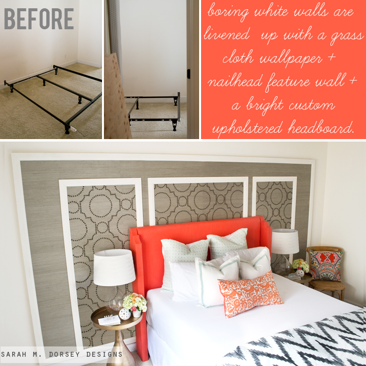 temporary accent wall with grass cloth nailheads sarah m dorsey designs east coast. Black Bedroom Furniture Sets. Home Design Ideas