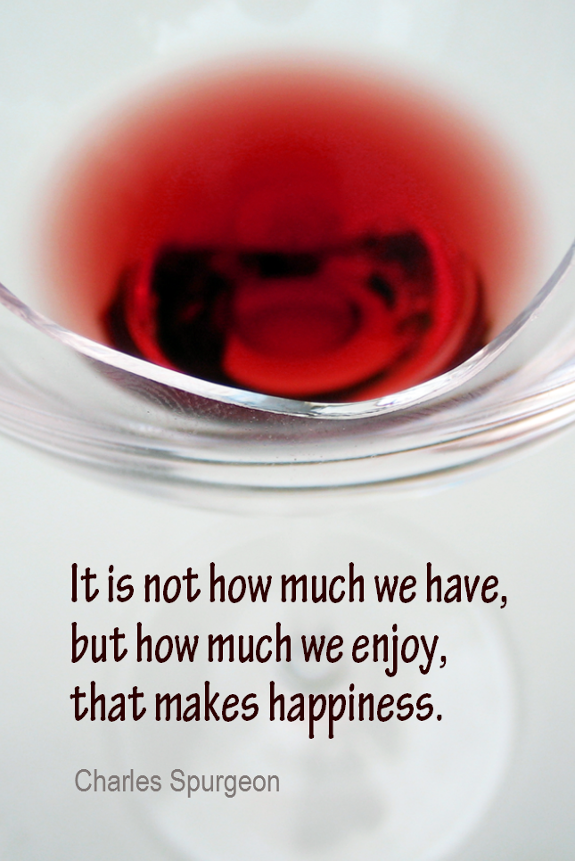 visual quote - image quotation for HAPPINESS - It is not how much we have, but how much we enjoy, that makes happiness. - Charles Spurgeon