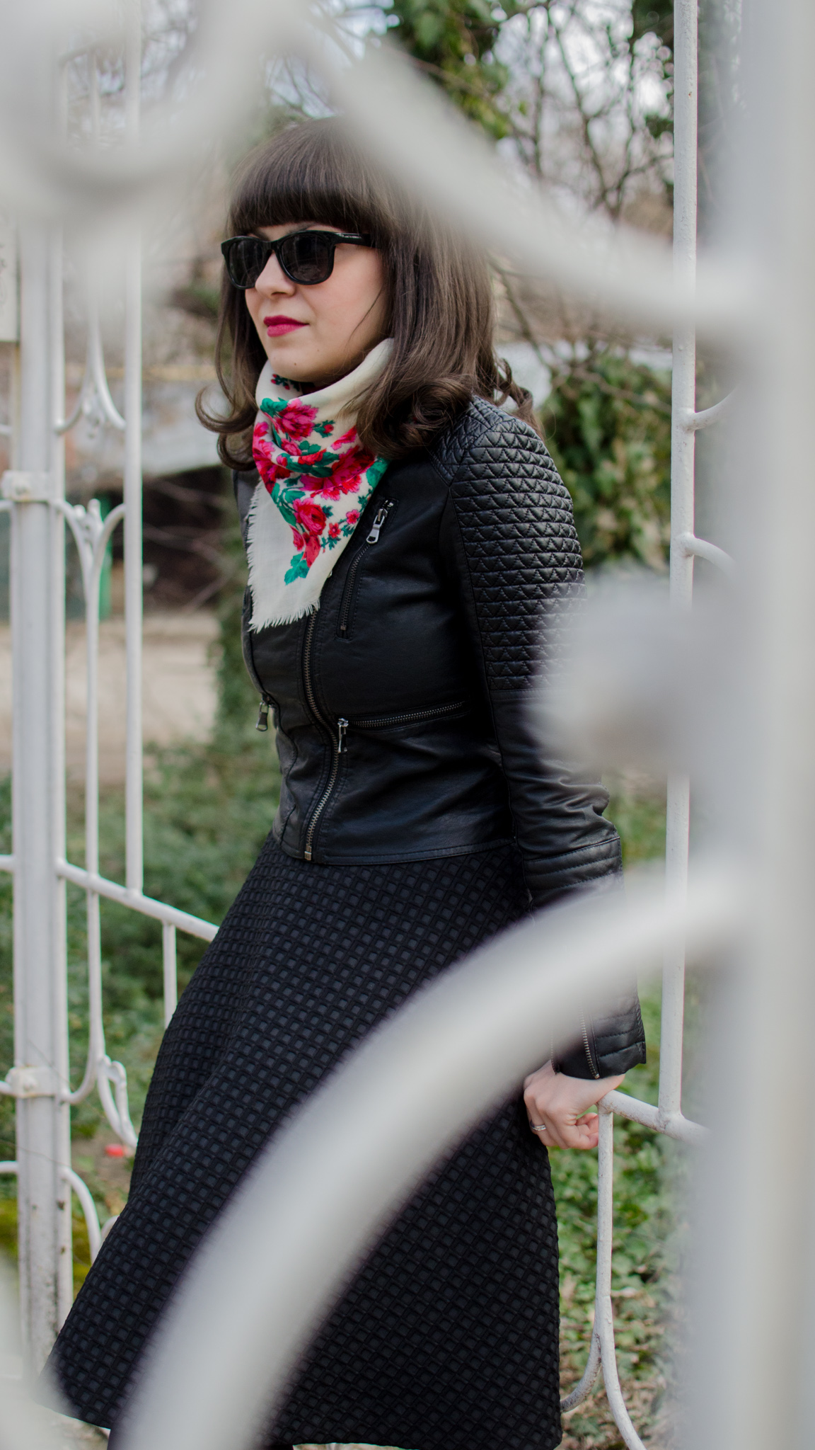rock leather jacket ethnic romanian scarf burgundy turtleneck H&M full circle black skirt burgundy boots stone creek traditional romanian waistband spring bangs