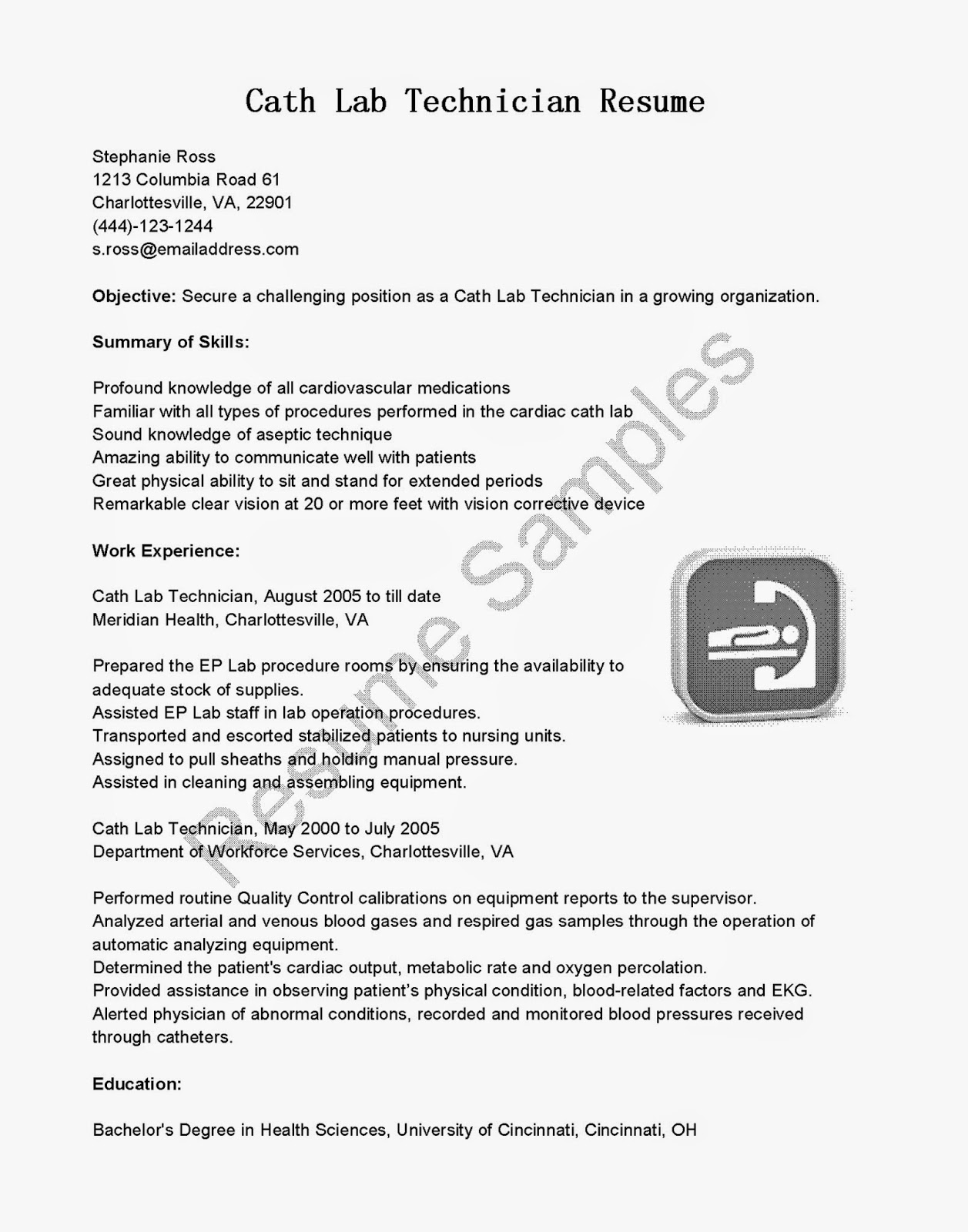 resume samples  cath lab technician resume sample