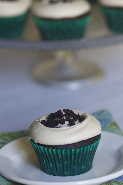Chocolate Guiniess Cupcakes with Baileys Cream Cheese Frosting via The Baker Chick