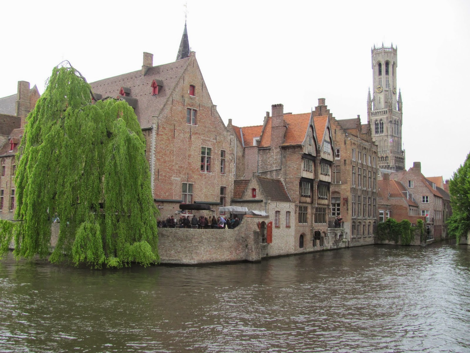 Canal Corner, Bell Tower on the Right Bruges, Belgium