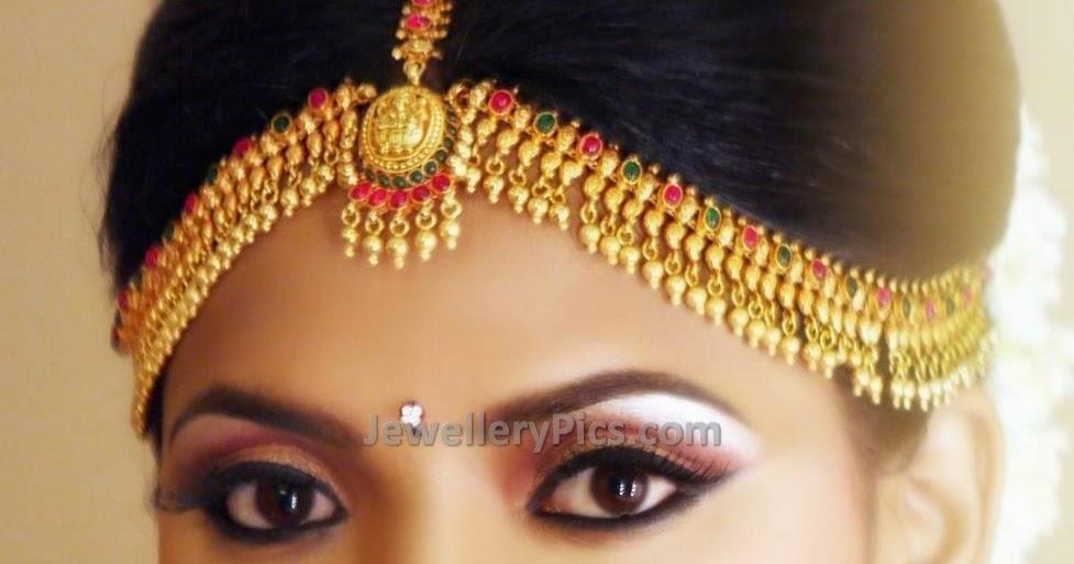 Bride In Gold Mango Nethi Chutti Latest Jewellery Designs