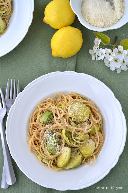 Spaghetti with Brussels Sprouts and Lemon Butter | www.motherthyme.com