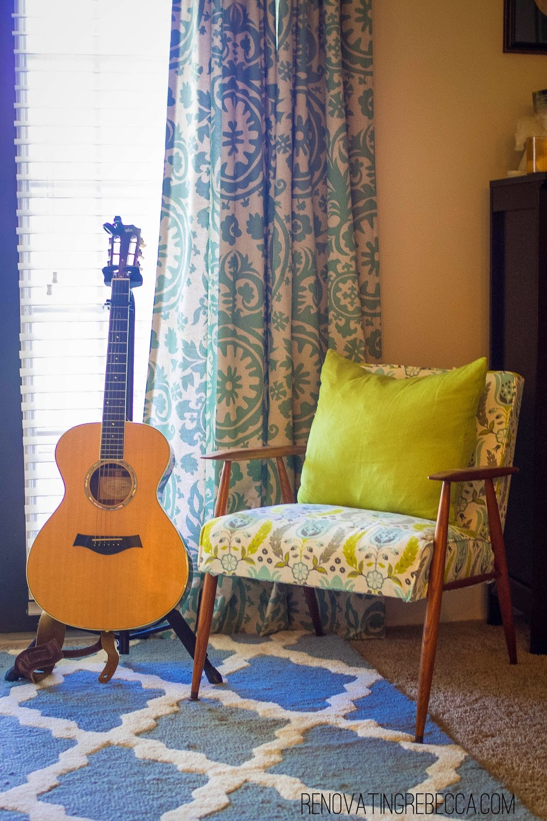 Colorful furniture with guitar