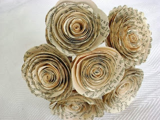 spiral rose bouquet vintage paper by HBixbyArtworks Helen Bixby