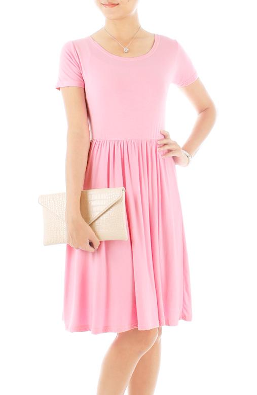 Prudence Knee Length Skater Dress – Pastel Pink
