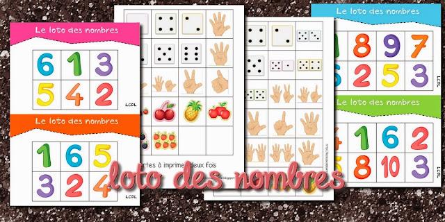 Populaire jeu à imprimer ] loto des nombres – Cycle 1, Cycle 2 | livres pour  IV91