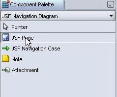 component palette elegir jsf page