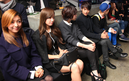SHINee Key, Minho and f(x) Sulli, Victoria and Luna at Seoul Fashion Week Suecomma Bonnie show 121025.
