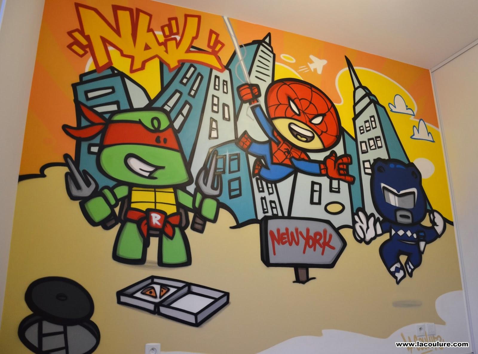collectif la coulure graffiti lyon chambre d 39 enfant super h ros dessins anim s. Black Bedroom Furniture Sets. Home Design Ideas