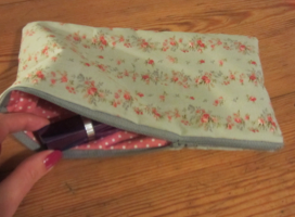 hand sewn make up bag