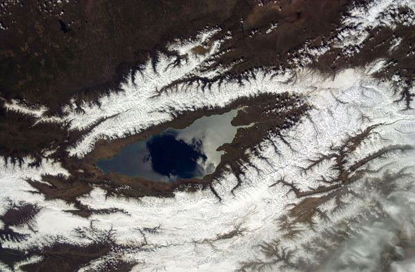 Frozen Lake that Looks like an Eye - Lake Issyk Kul Kyrgyzstan