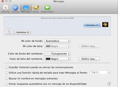 Configuración por defecto del historial de iMessage
