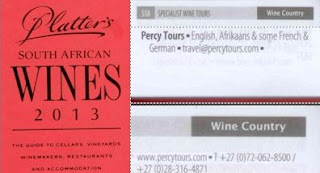 Percy Tours featured in new 2013 John Platter Wine book of South Africa