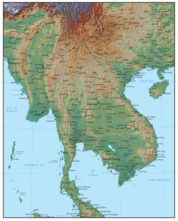 mainland southeast asia forms a long north south peninsula bordered by from northeast to northwest the gulf of tonkin the south china sea