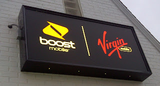 Store sign for Boost Mobile and Virgin Mobile