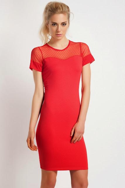 kırmızı renk transparan elbise, koton 2014 elbise modelleri
