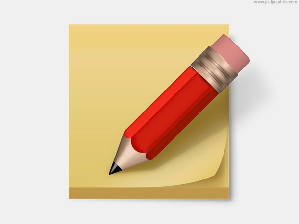 Post-it Note and Pencil Icon PSD