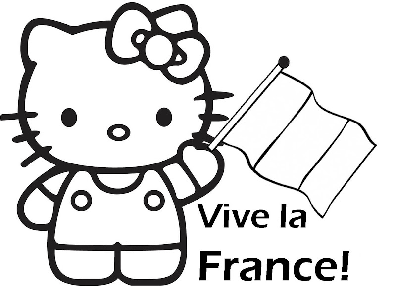 VIVE LA FRANCE COLORIAGE - HELLO KITTY title=