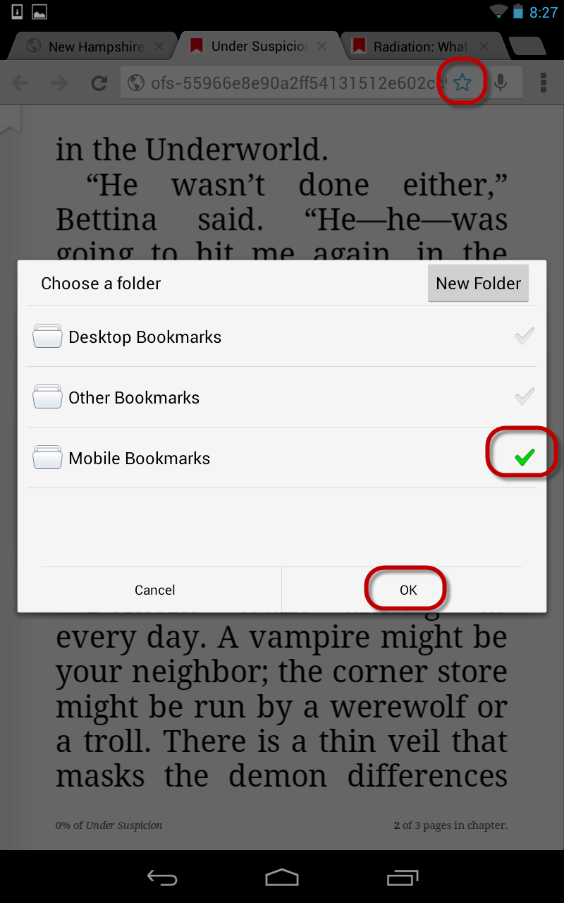 how to send fr om bookmarks to folders
