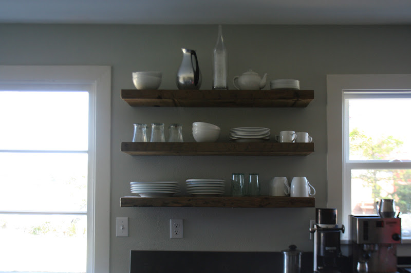 Kitchen Barn Board Shelves