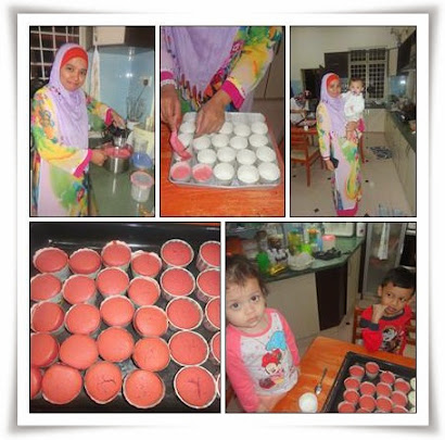 KEMAMAN : BAKING RED VELVET CUP CAKES WITH MY SISTER IN LAW