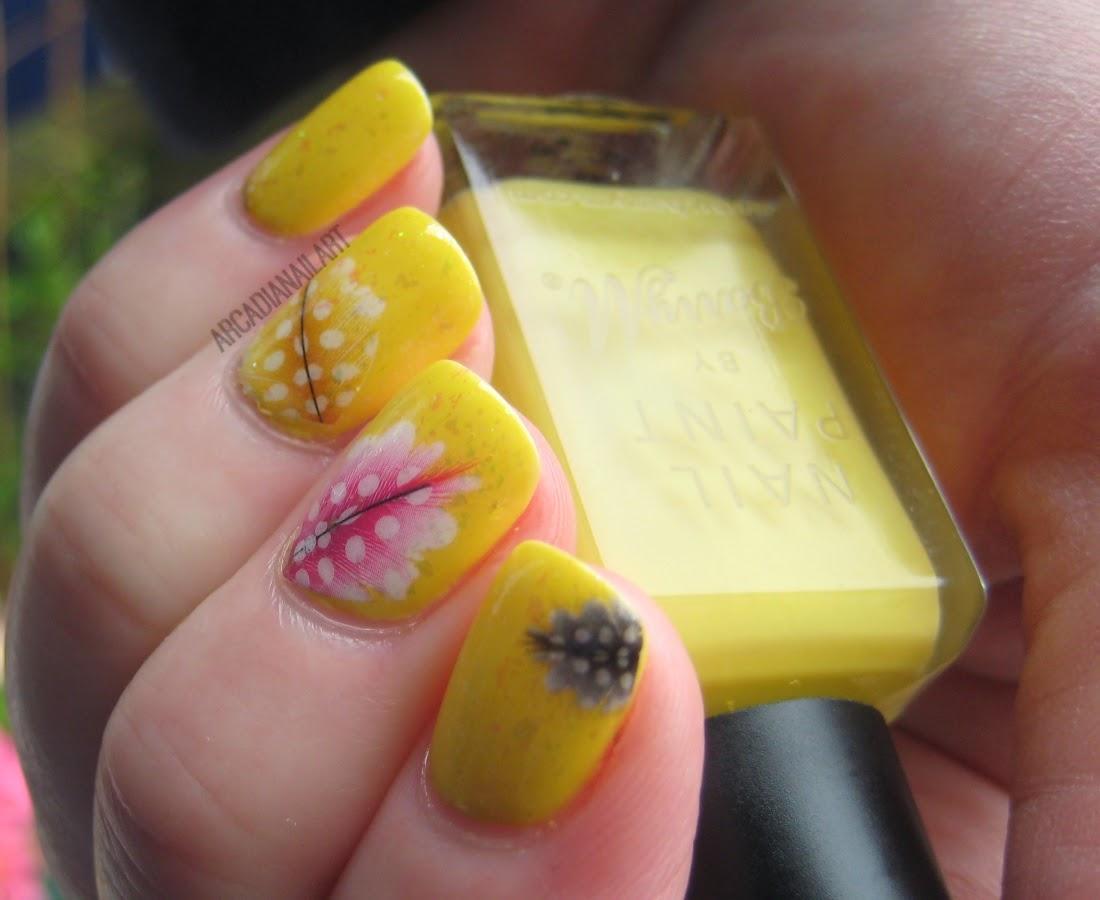 ArcadiaNailArt: Quick Yellow Feather & Flakies Nails