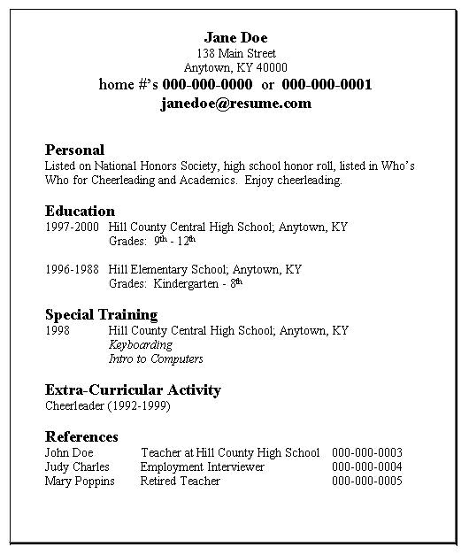 Example Of A Simple Resume  Resume Format Download Pdf