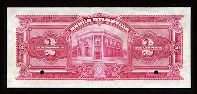 Honduras early currency bank notes 2 Lempiras Banco Atlantida