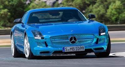carro eletrico,Impressionante Mercedes-Benz SLS AMG Azul Coupé Unidade Elétrica