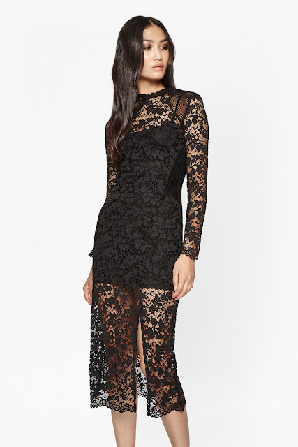 french connection black lace dress, black lace panelled dress,