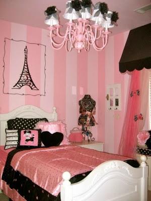 dormitorio en rosa blanco y negro