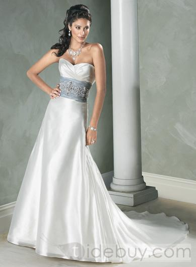 A wedding addict silver wedding dress with soft sweetheart for Silver and white wedding dresses